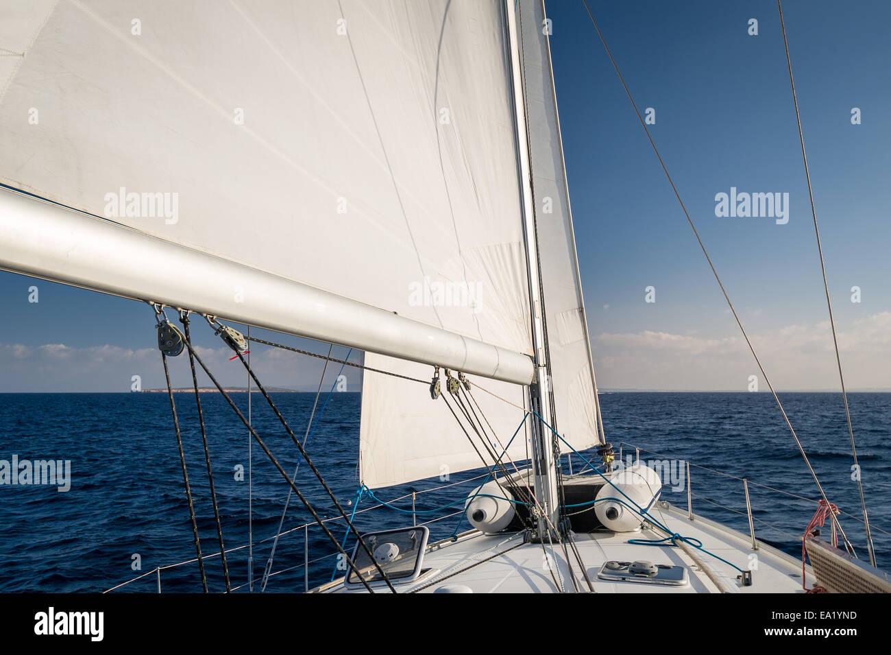 Sailing in Mediterranean sea - Stock Image