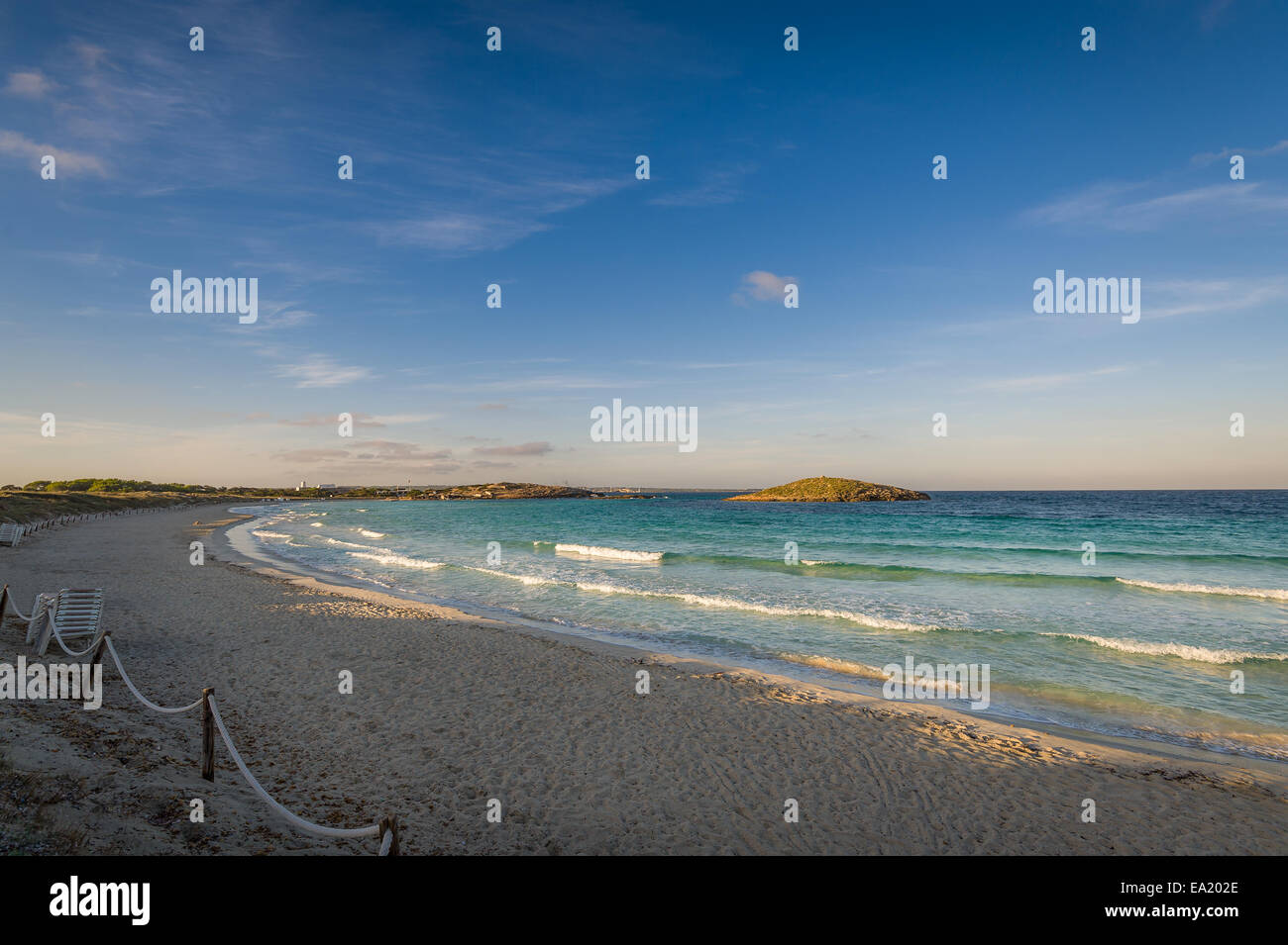 Windy morning at beach - Stock Image