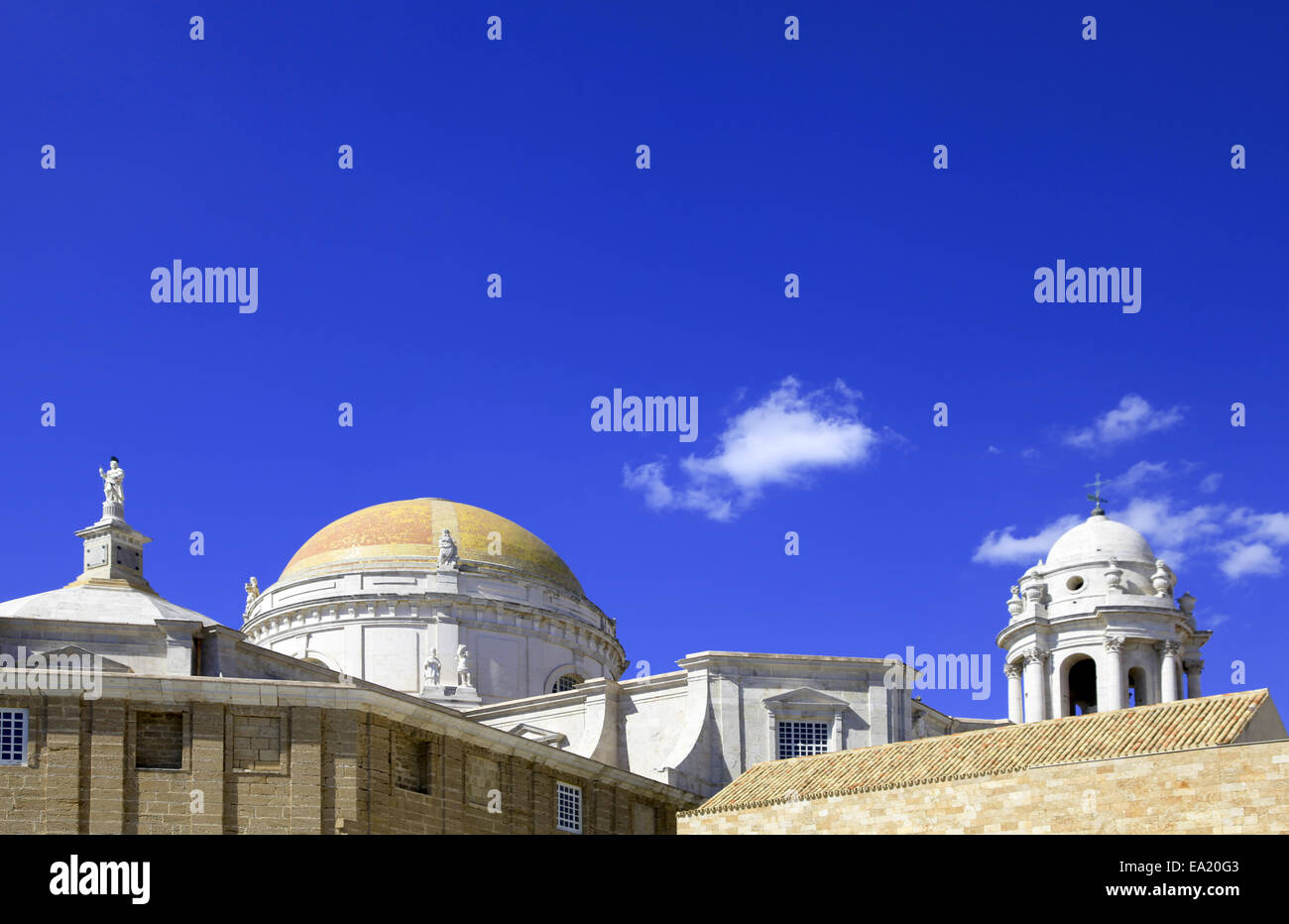 Cupolas of the Cathedral of Cadiz - Stock Image