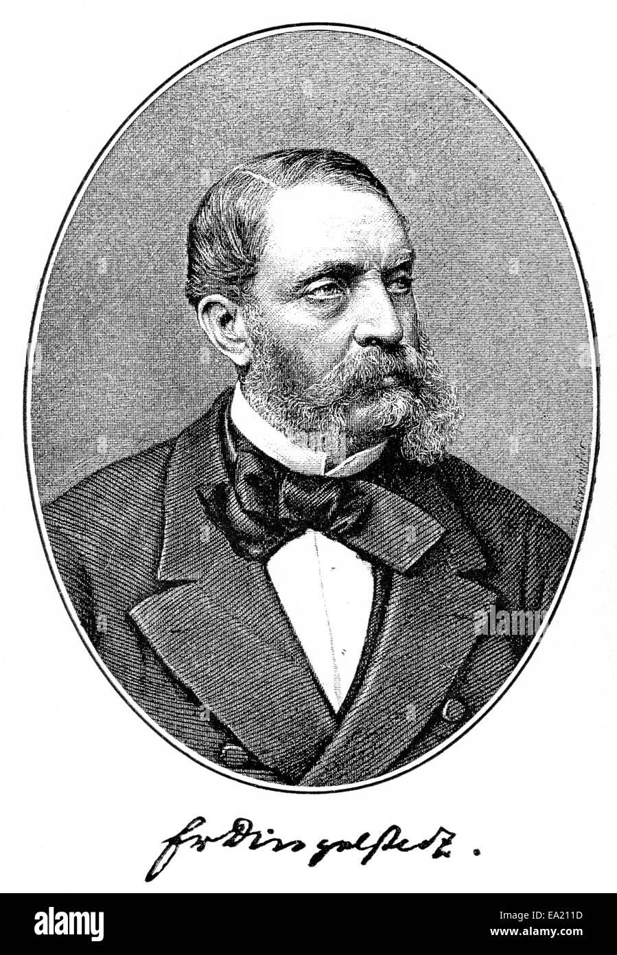 Franz von Dingelstedt, 1814 - 1881, a German poet, journalist and theater director,  Portait von Franz von Dingelstedt, Stock Photo