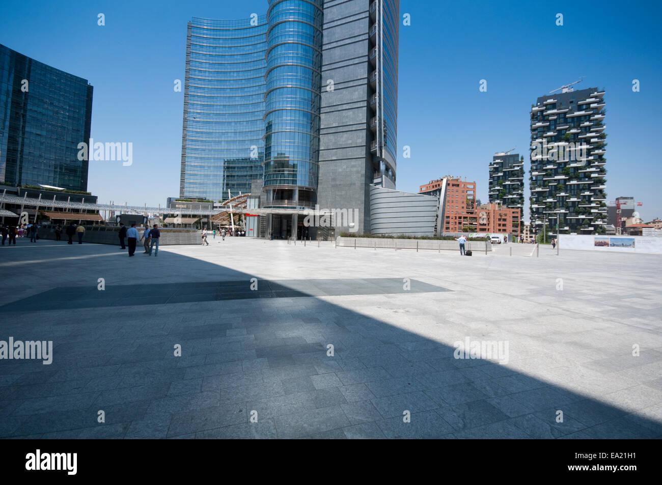 Italy, Lombardy, Milan, Gae Aulenti Square,  Porta Nuova Garibaldi Tower designed by Cesar Pelli. Stock Photo