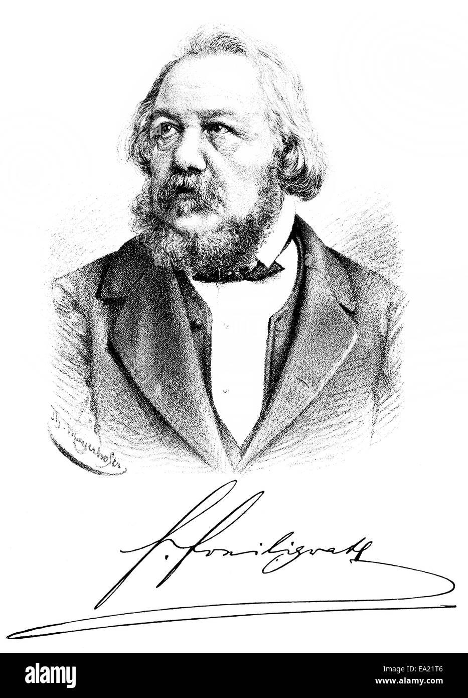 portrait of Hermann Ferdinand Freiligrath, 1810 - 1876, a German Lyric poet, translator and poet, Portrait von Hermann - Stock Image