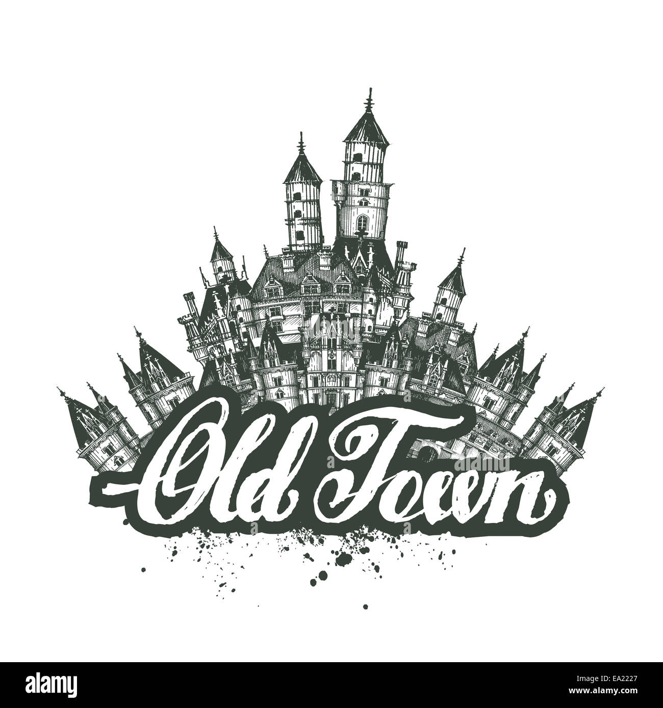 Old Town. Vector illustration, sketch, artwork - Stock Image