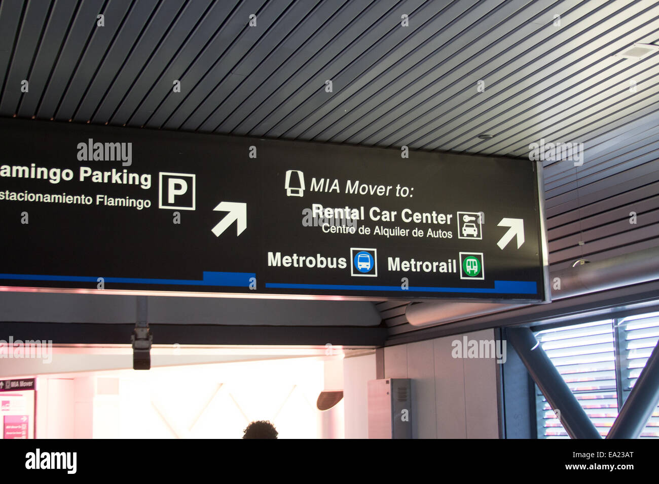 signs to the rental car center and mia mover at miami
