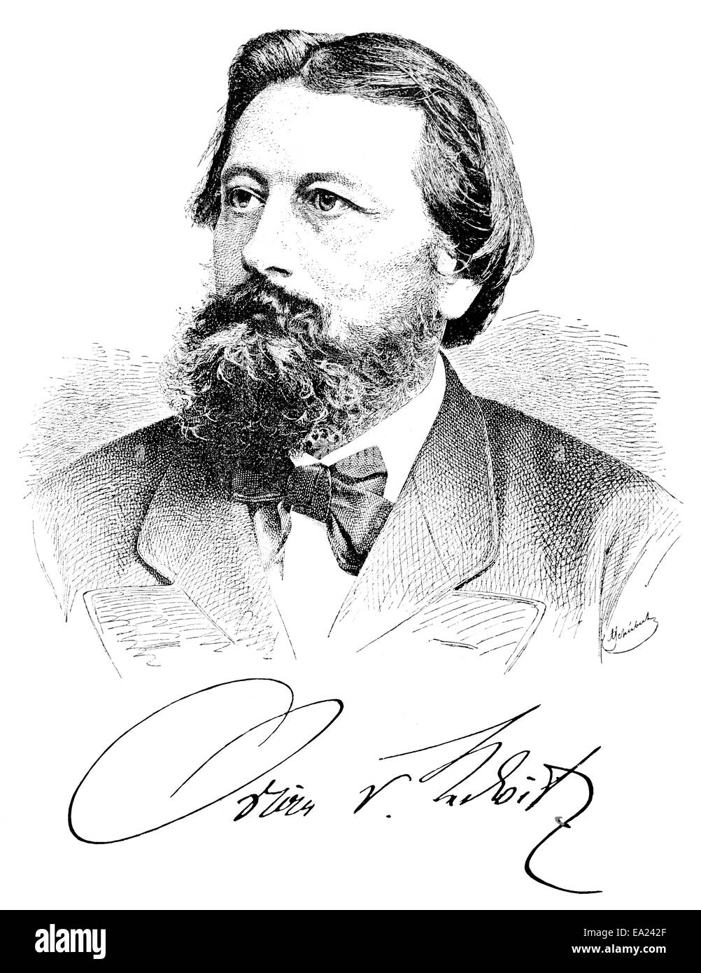 Oskar Freiherr von Redwitz, 1823 - 1891, a German poet,  Portait von Oskar Freiherr von Redwitz, 1823 - 1891, ein Stock Photo