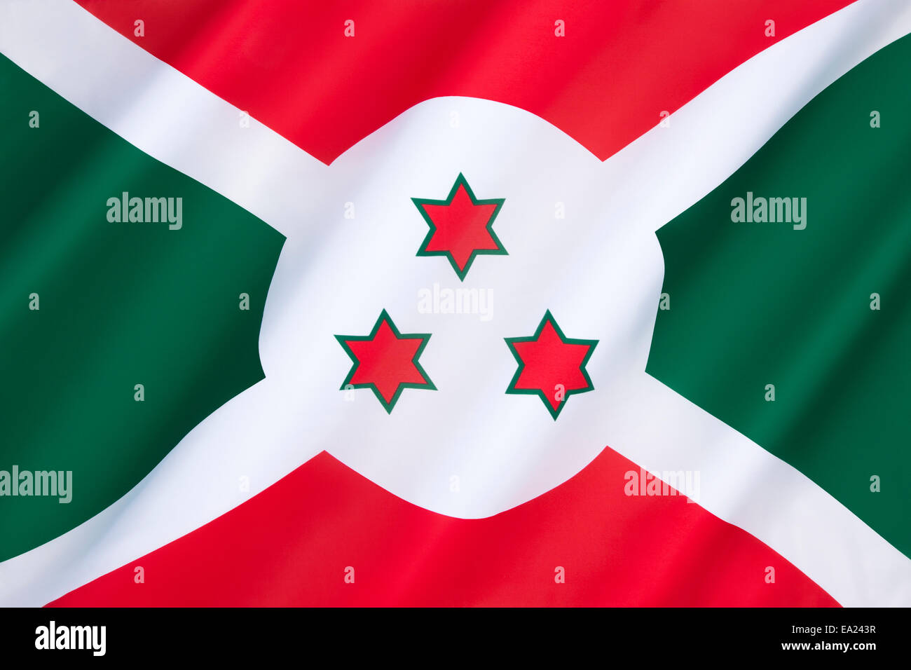 Flag of Burundi  - adopted on 28th June 1967 following independence from Belgium on 1st July 1962. Burundi is in - Stock Image