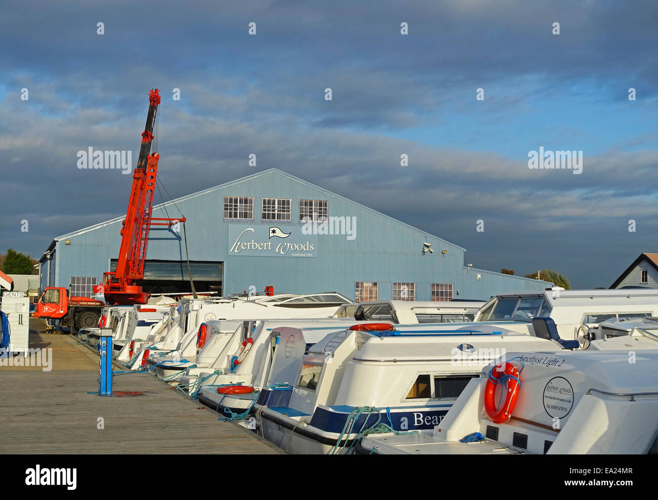Herbert Woods boating centre and marina, Potter Heigham, Norfolk, England UK - Stock Image