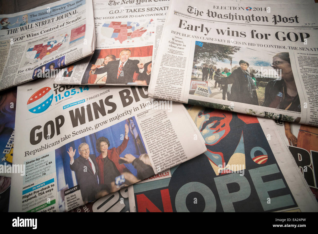 National and local newspapers in New York report on the results of the previous day's mid-term elections - Stock Image