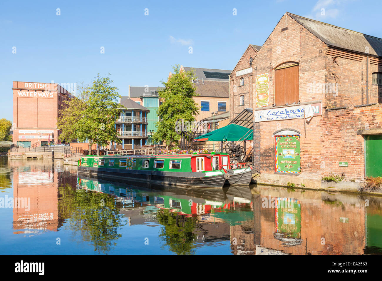 Moored narrowboats on the Waterfront area of the Nottingham and Beeston Canal in the city of Nottingham, England, - Stock Image