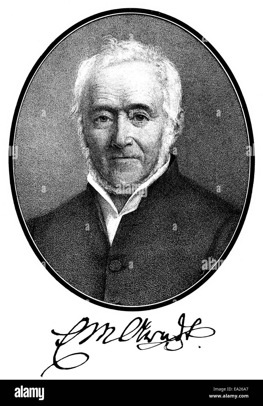 Ernst Moritz Arndt, 1769 - 1860, a German writer and deputy of the National Assembly in Frankfurt, Ernst Moritz - Stock Image