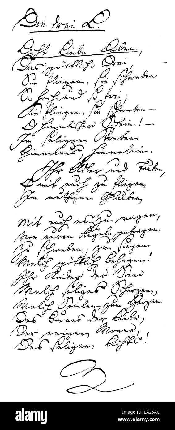 Historical manuscript, 1850, Ernst Moritz Arndt, 1769 - 1860, a German writer and deputy of the National Assembly - Stock Image