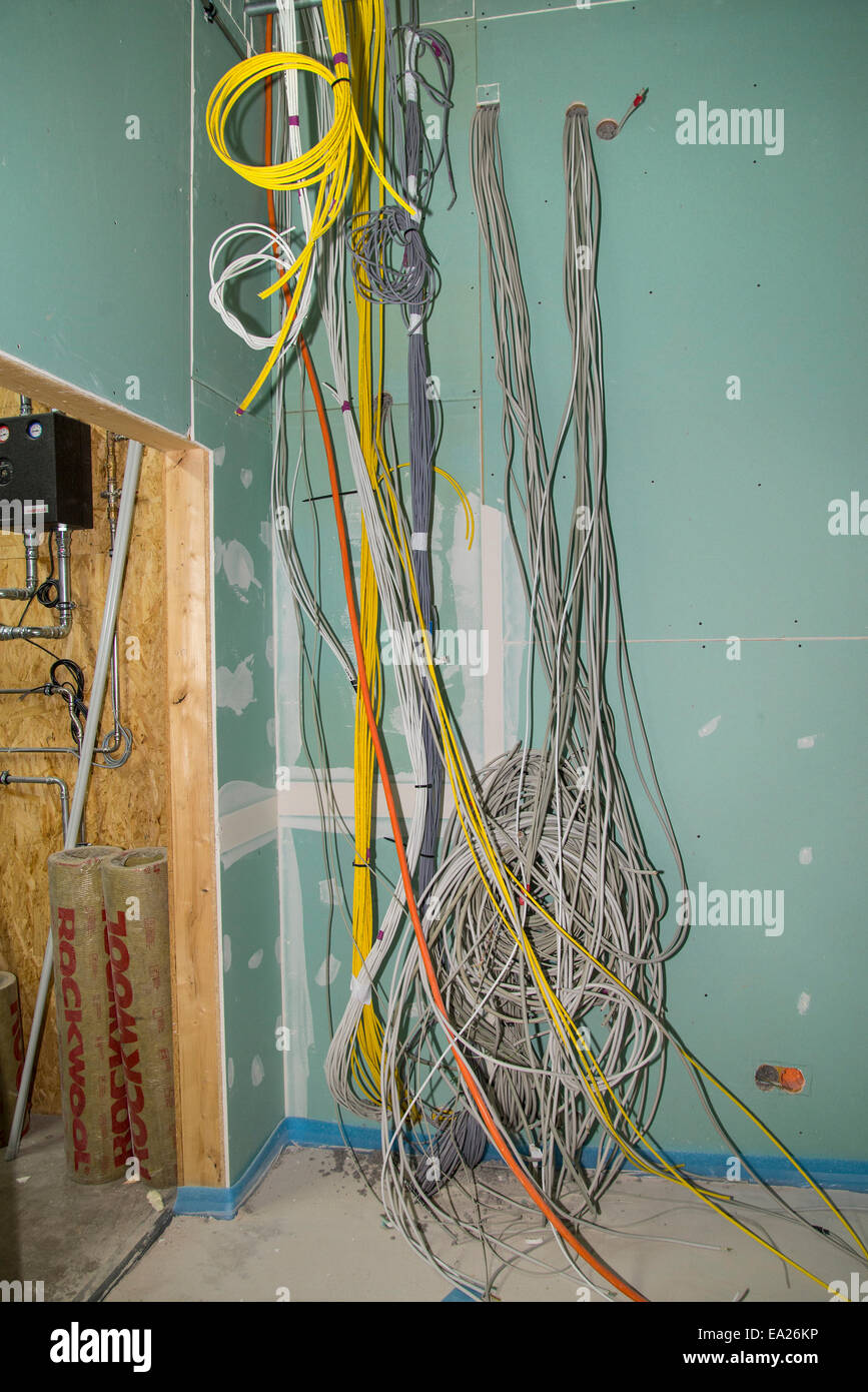 Power cord and network cable to the wall in the interior of an Stock ...