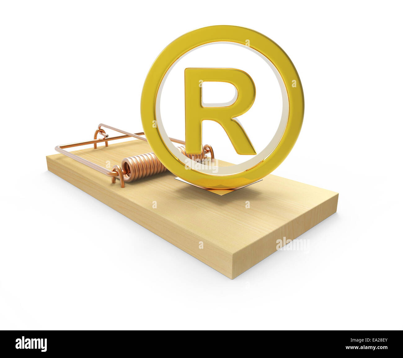3d render of a gold registered symbol on a mousetrap stock image