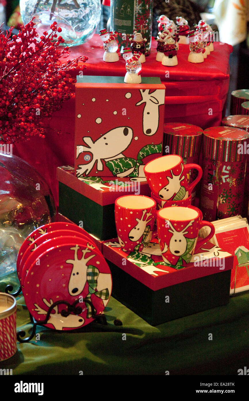 Christmas reindeer china and cups at the The Williams Company Store. Ottertail Minnesota MN USA - Stock Image