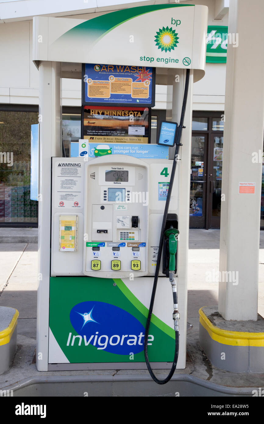 Modern BP gas station gasoline pump for automobiles  Minnesota Stock