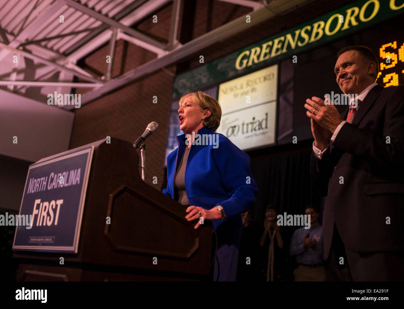 Greensboro, North Carolina, USA. 4th Nov, 2014. LAURA FJELD concedes her race for North Carolina's 6th congressional - Stock Image