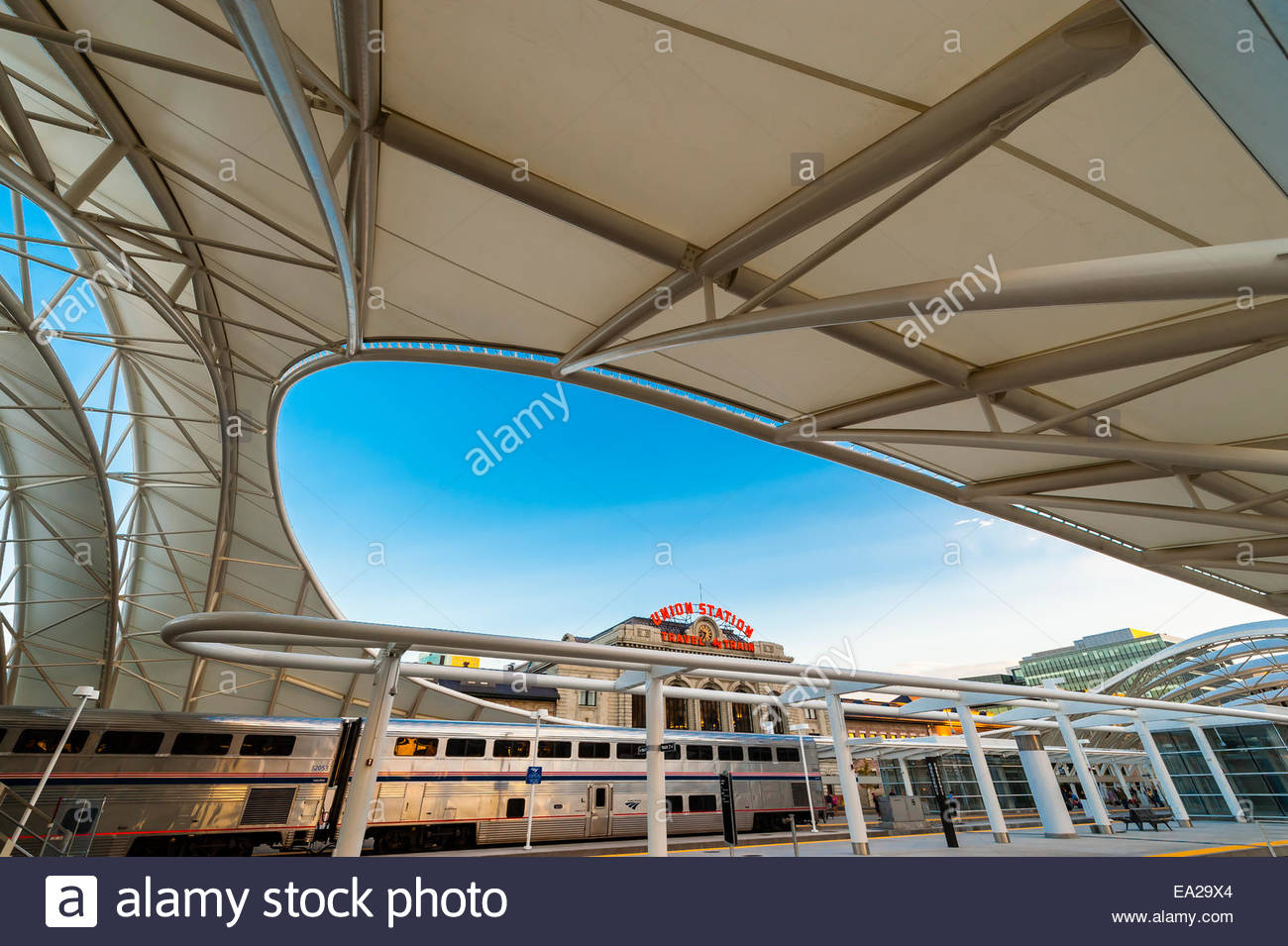 The California Zephyr en route from San Francisco to Chicago, at the newly renovated Denver Union Station, Downtown - Stock Image