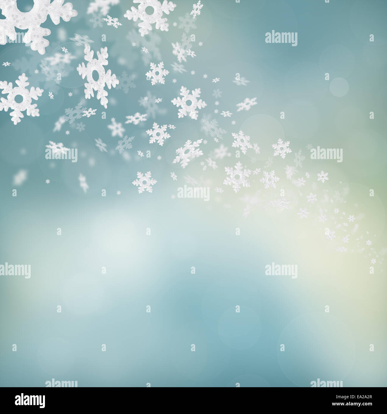 Shimmering christmas background with flying snowflakes - Stock Image