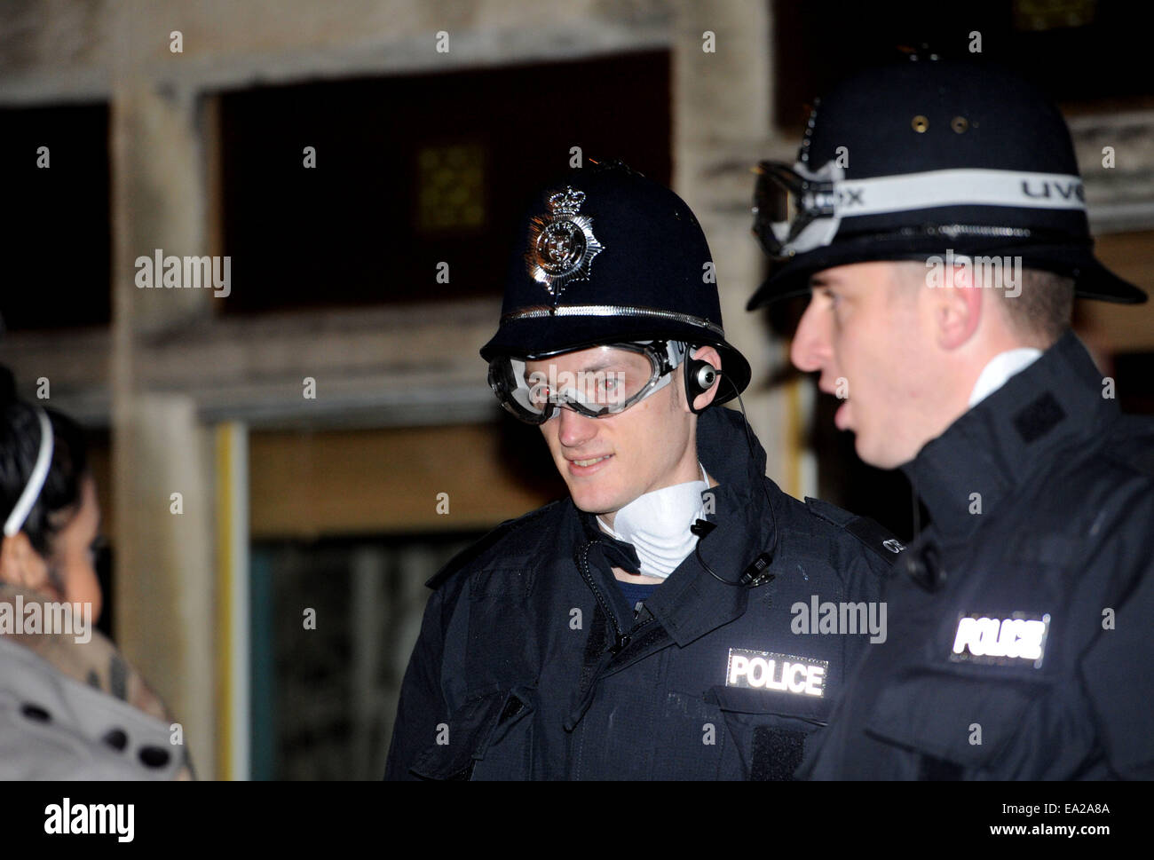 Lewes, Sussex, UK. 5th November, 2014. Police issued with protective goggles at the annual Lewes Bonfire Celebrations - Stock Image
