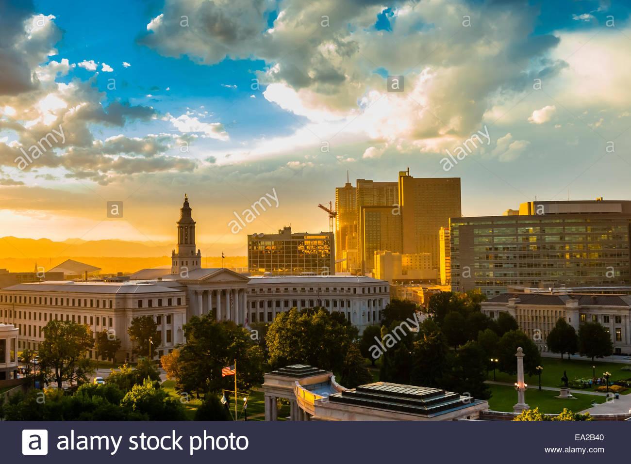Denver Civic Center and skyline of Downtown Denver, Colorado USA. - Stock Image