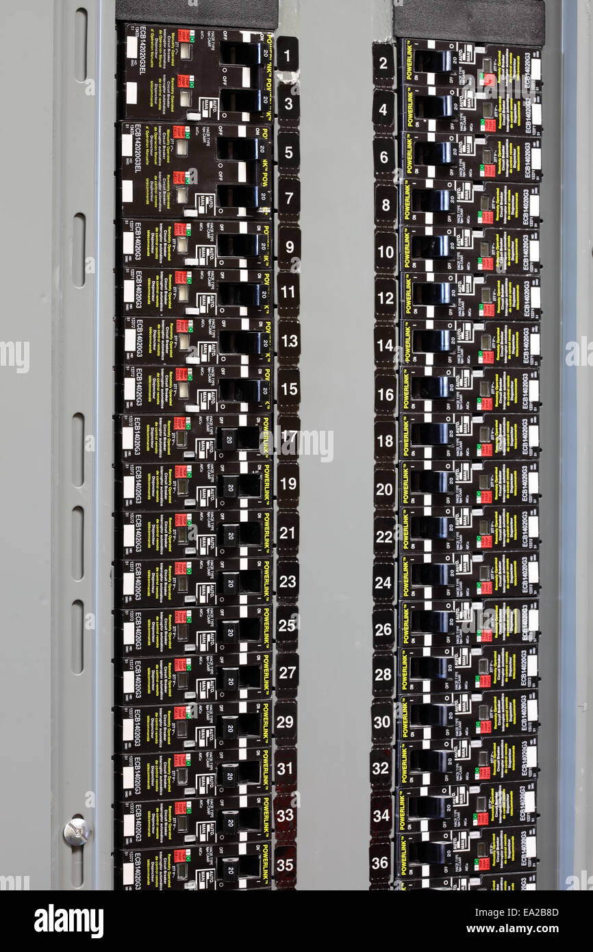 Electrical Distribution Board Circuit Breakers Stock Photos Electronic Boardcircuit For Power Supply An And Image