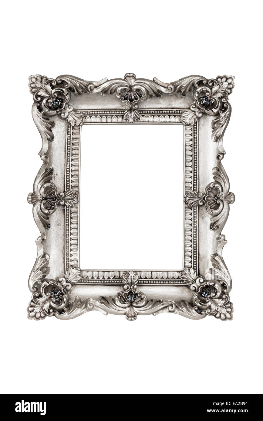 Old Antique Silver Picture Frames Isolated On White Background With