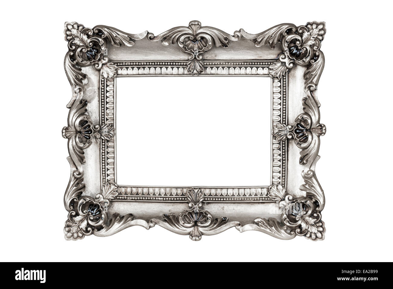 Old antique silver picture frames. Isolated on white background with ...