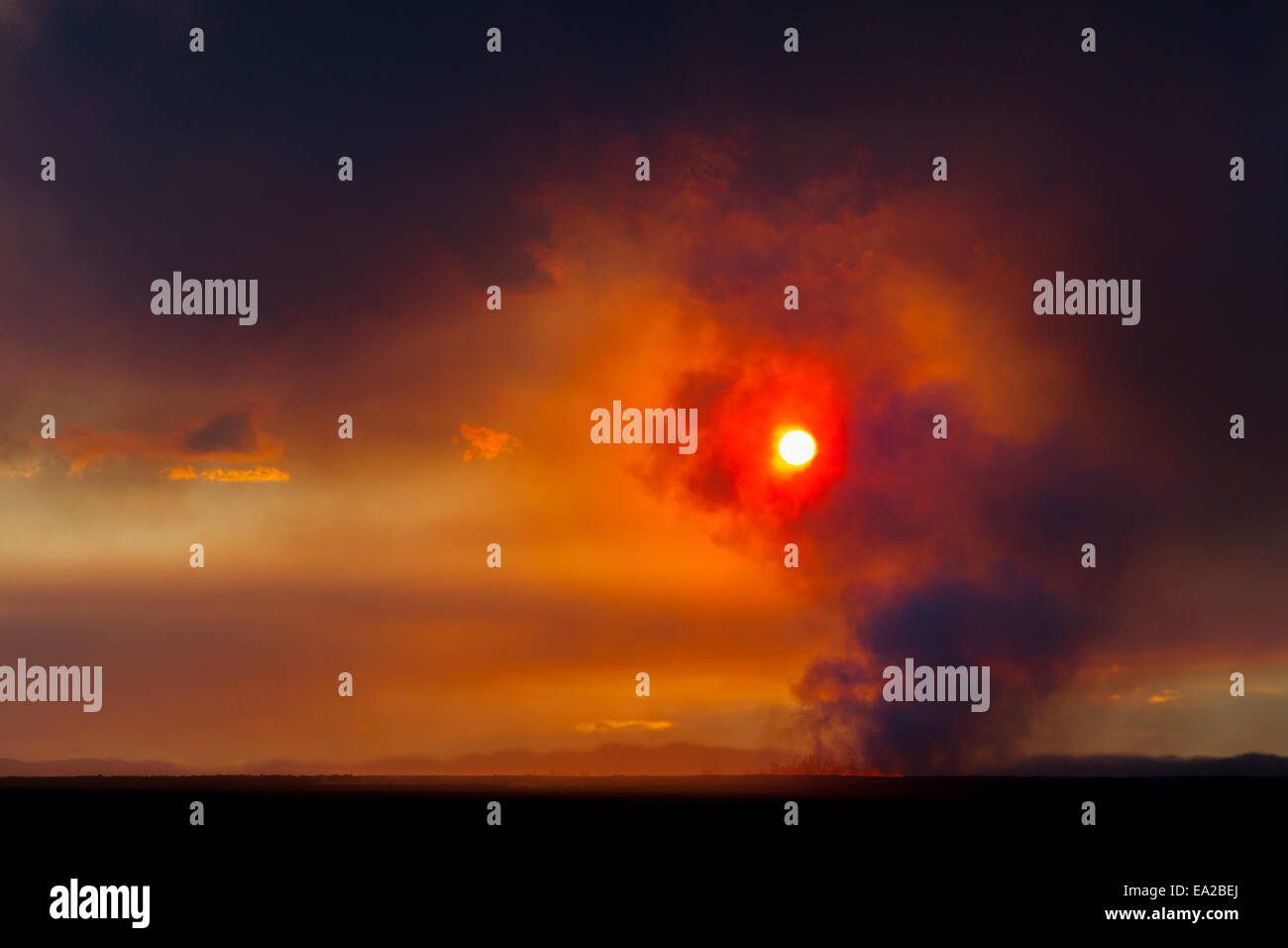 dawn over the volcano eruption, Iceland 2 - Stock Image