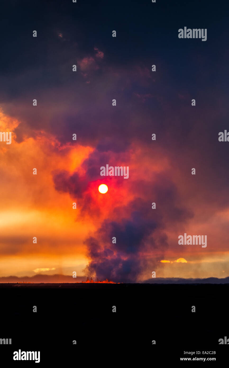 dawn over the volcano eruption, Iceland Stock Photo