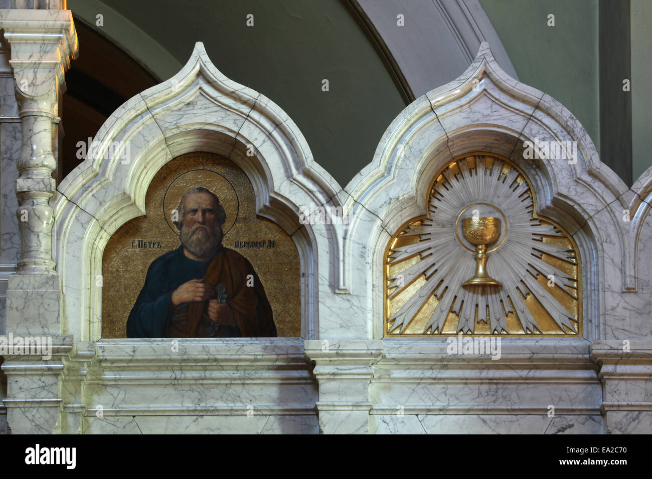 Saint Peter the Apostle. Icon in the marble iconostasis of the Russian Orthodox Church in Dresden, Saxony, Germany. - Stock Image