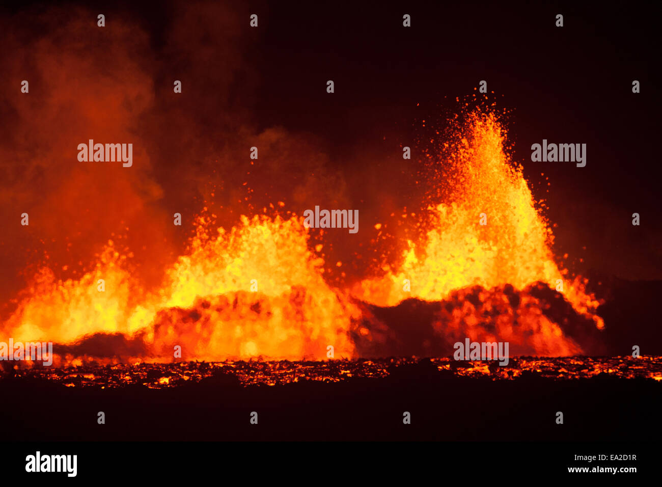 main vent of the Holuhraun eruption spewing lava - Stock Image