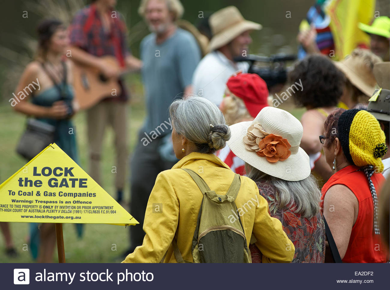A group of older women waiting to march, in the 'gasfield free northern rivers' declaration, along with - Stock Image