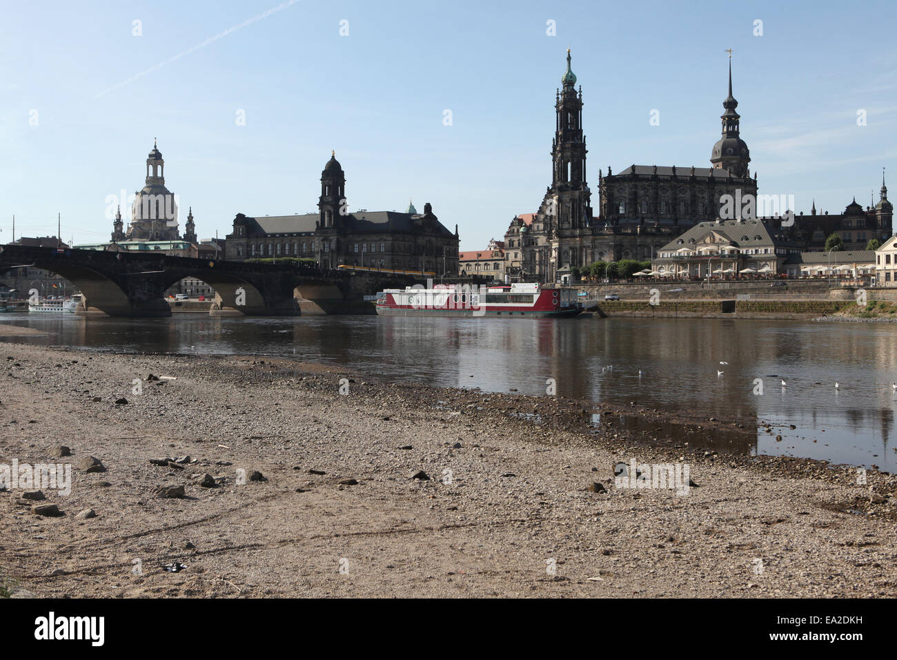 The Frauenkirche (L), the Dresden Cathedral (C) and the Dresden Castle (R) and the Elbe River in Dresden, Saxony, - Stock Image