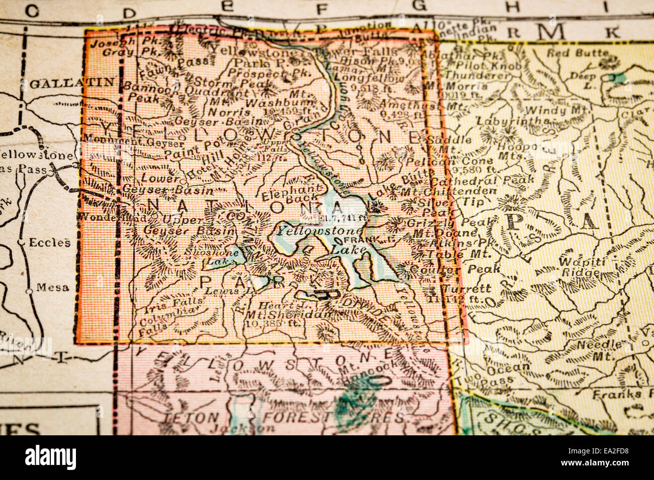 Yellowstone National Park on vintage 1920s map, selective ...