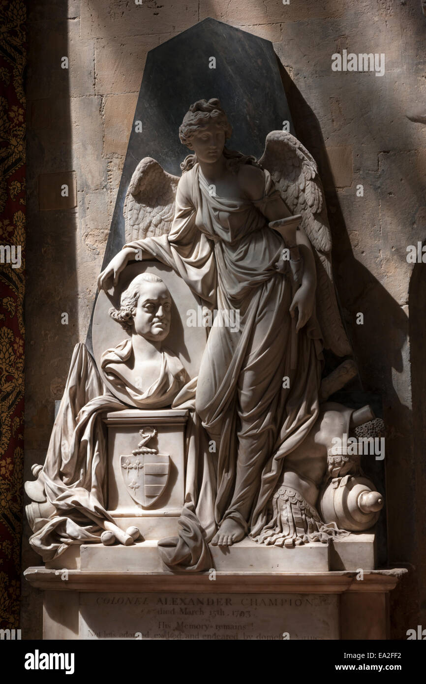 Monuments and memorials inside Bath Abbey, Bath, Somerset - Stock Image
