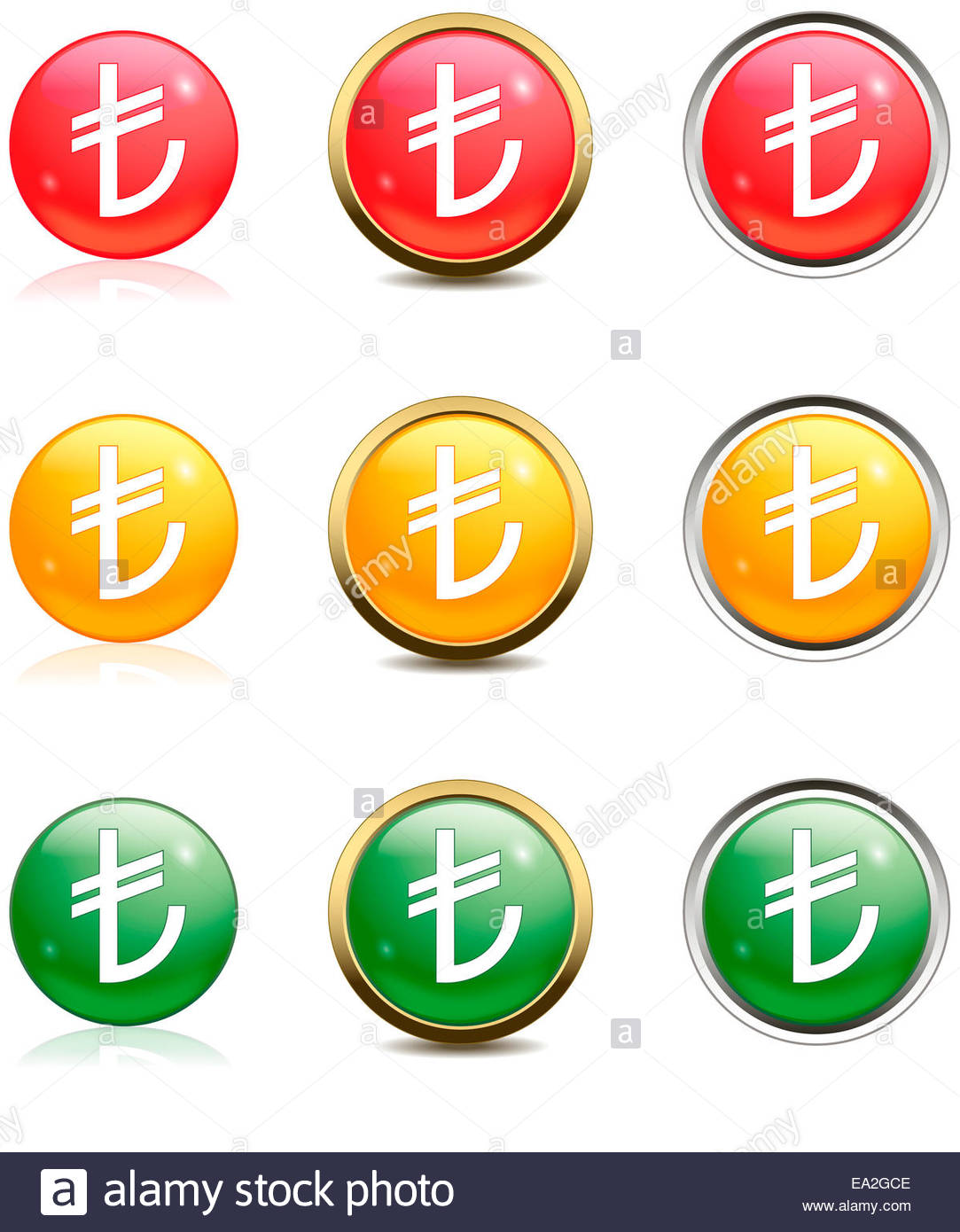 Turkish lira in red, yellow and green buttons Stock Photo