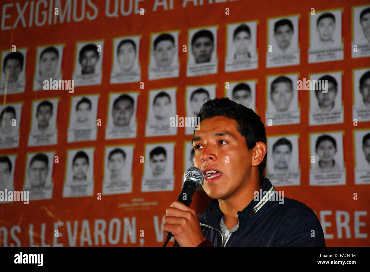 LA PAZ, BOLIVIA, 5th November 2014. A student leader speaks at an event organised to show solidarity with the 43 - Stock Image