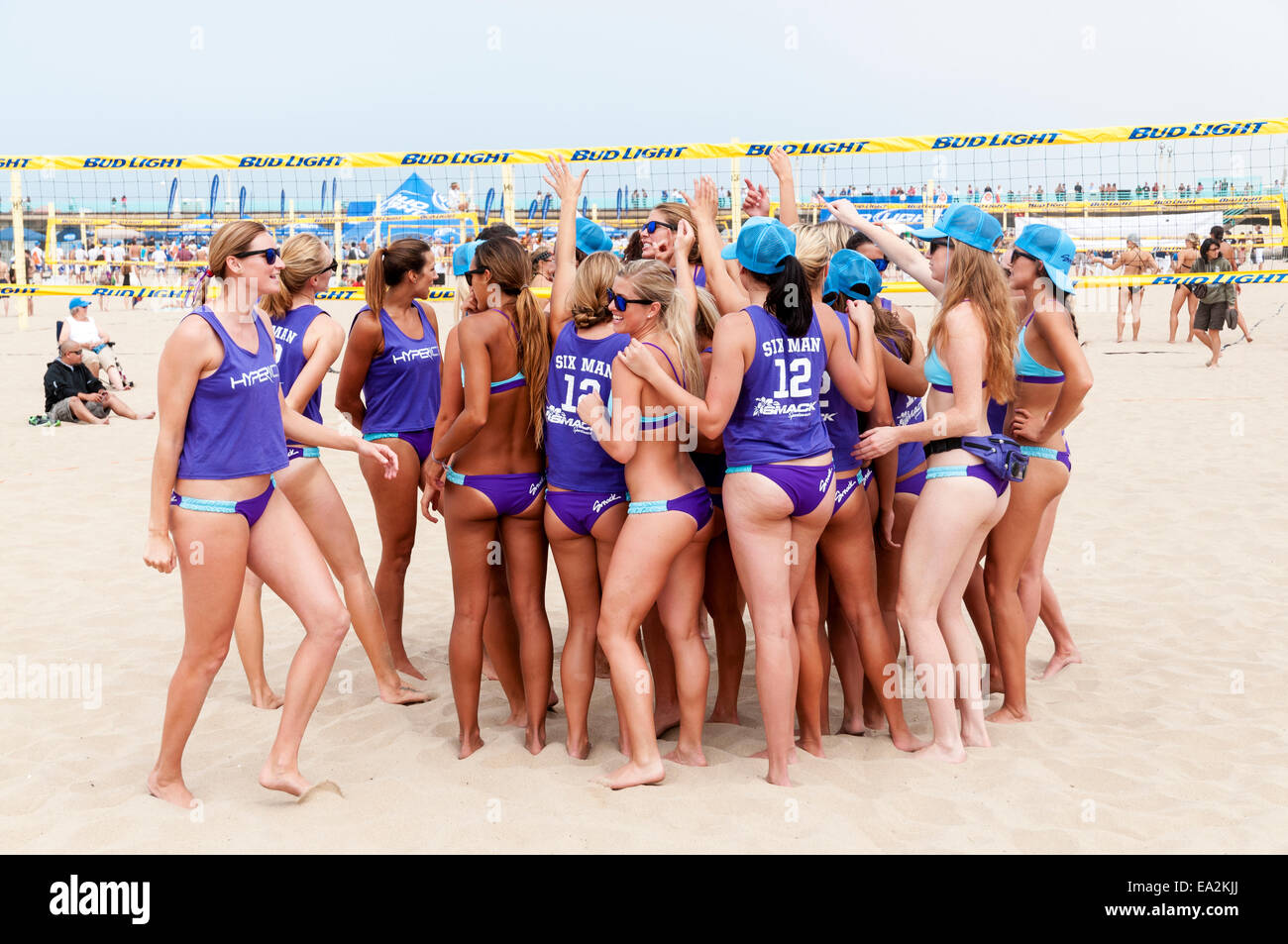 California, Los Angeles County, Manhattan Beach, International Surf Festival, Six-Woman Beach Volleyball Team - Stock Image