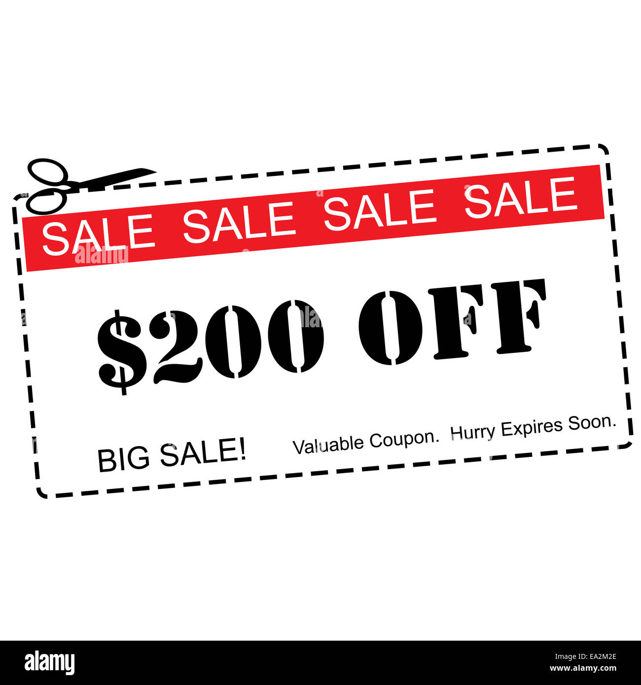 200 off big sale red and white coupon making a great concept stock