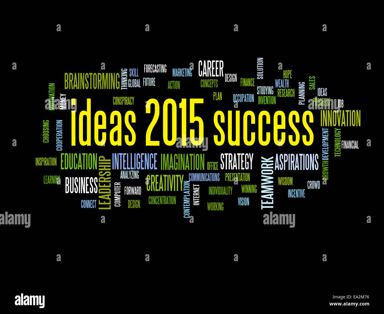 ideas of success 2015 word cloud - Stock Image