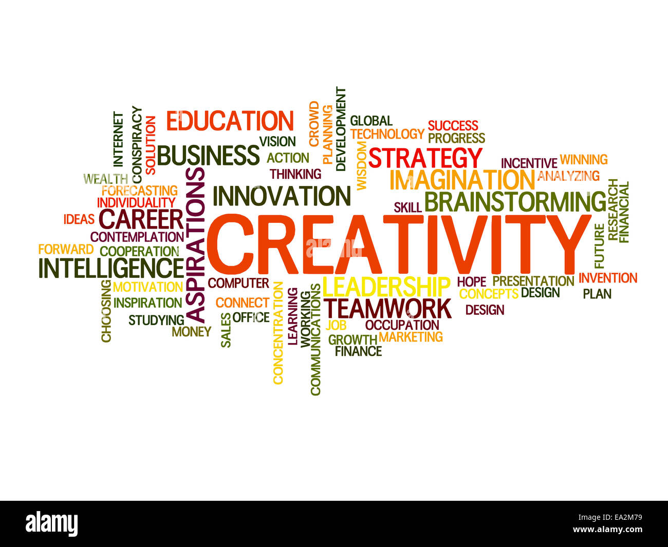 Creativity related words concept in word tag cloud - Stock Image