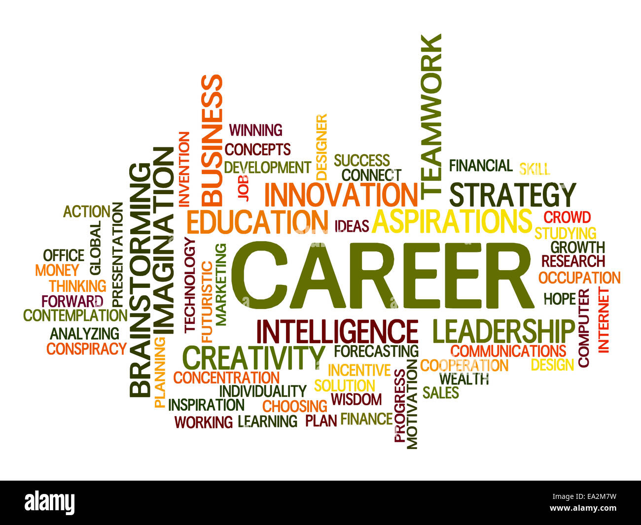 Career related words concept in word tag cloud - Stock Image