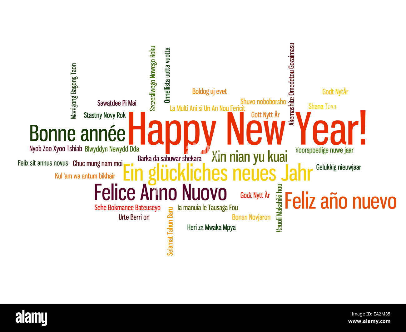 Happy New Year in different language. Words cloud Stock Photo ...