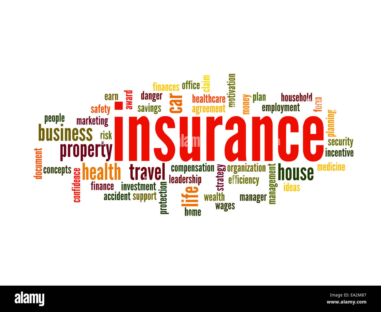 Insurance Word Cloud Concept in terms such as auto, house, travel and more - Stock Image