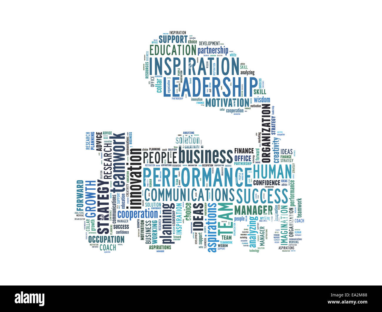 Conceptual text word cloud metaphor for business, team, teamwork, management - Stock Image