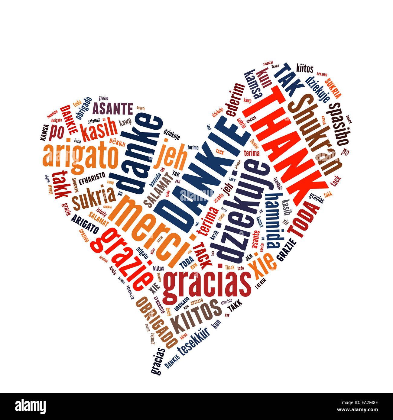 Conceptual text word cloud with Thank You many languages - Stock Image