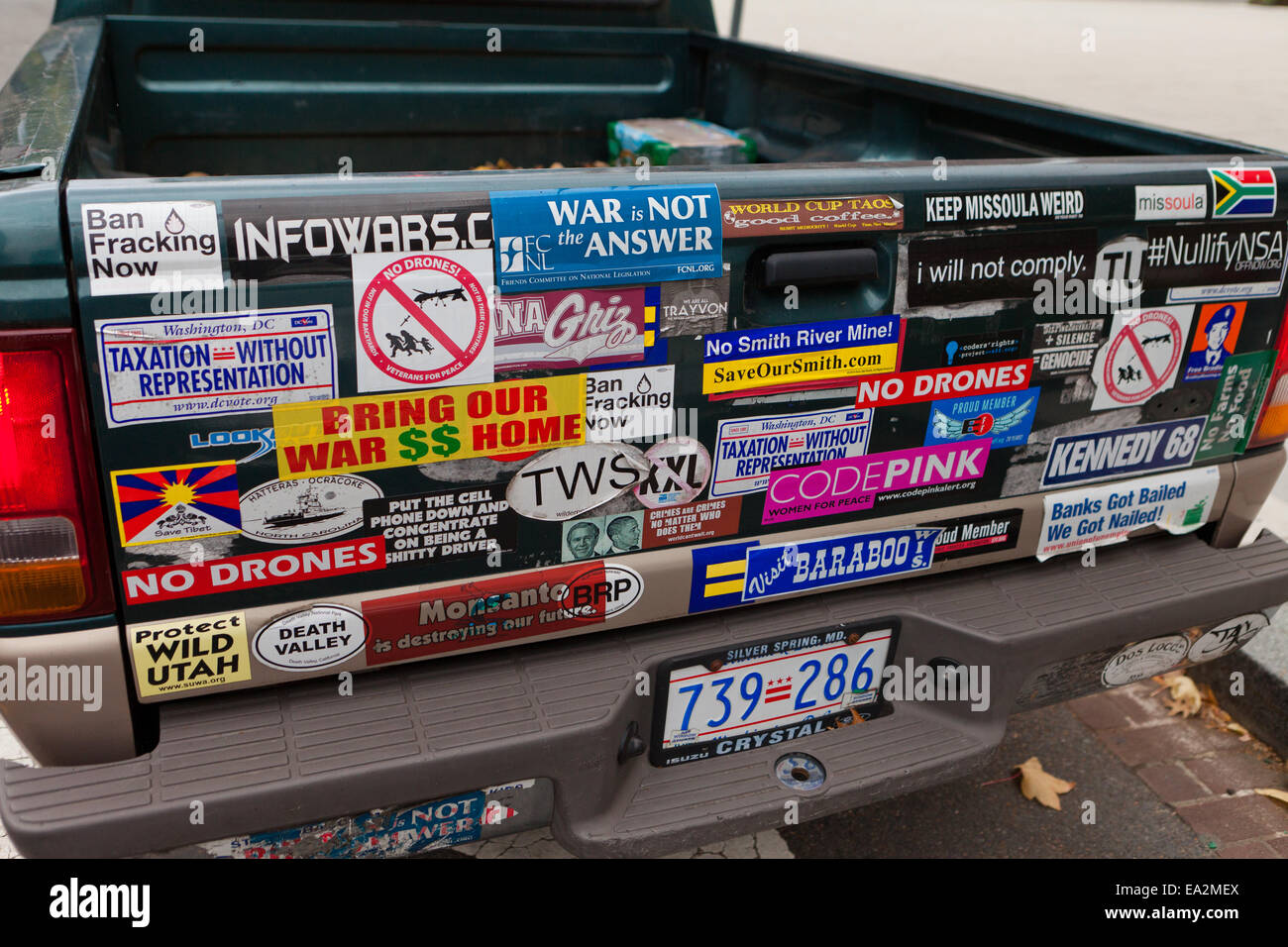 Environmental activists car bumper stickers usa stock image
