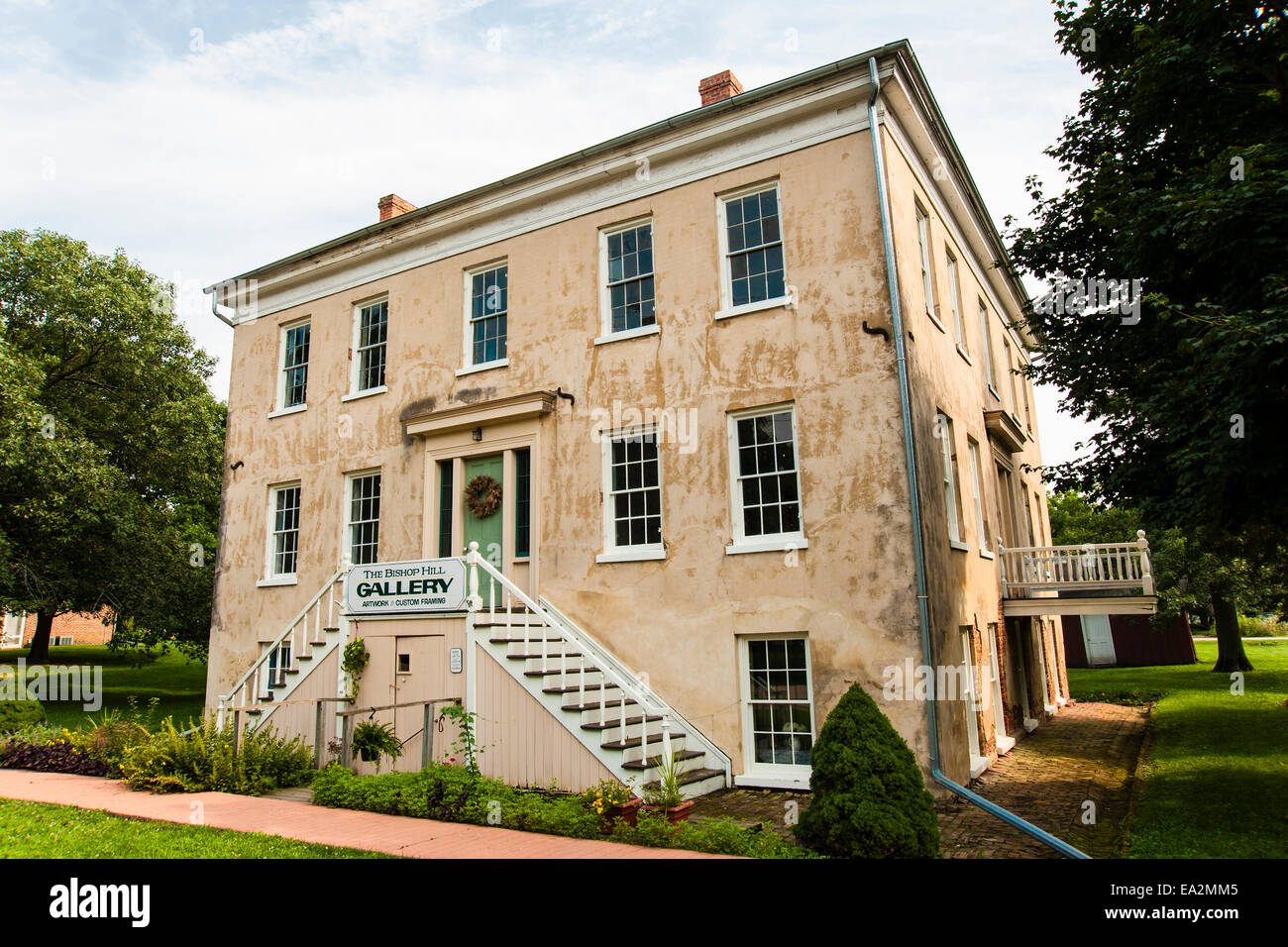 Bishop Hill, Illinois, colony hotel building constructed about 1855 as part of the Swedish utopian settlement in - Stock Image