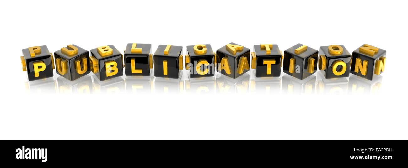 yellow 3d text PUBLICATION on reflective black cubes. - Stock Image