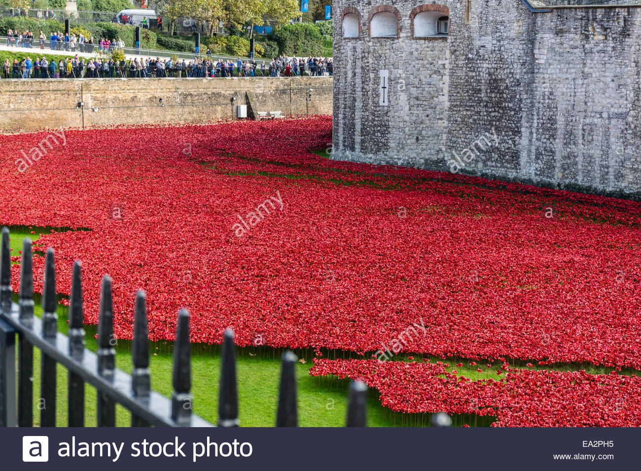 The Blood Swept Lands and Seas of Red art installation at the Tower of London - Stock Image